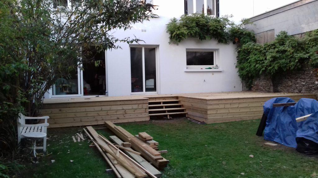 Terrasse sur lev e artisan menuisier bois en loire - Maison jardin fontenay sous bois lille ...
