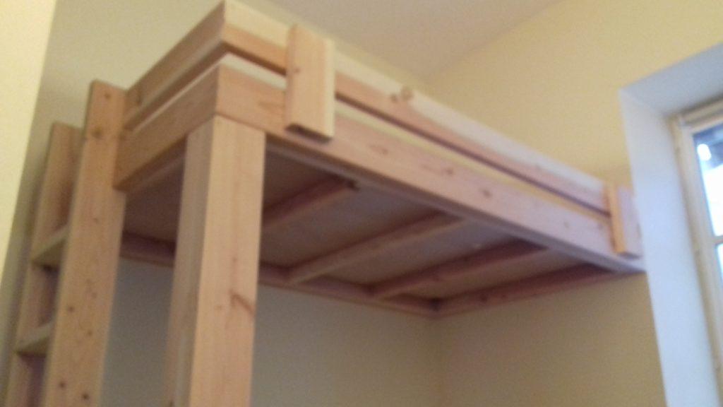 Mezzanine lit chambre bois sur-mesure à Nantes